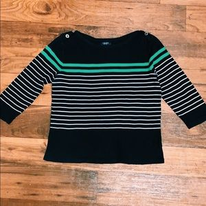 Women's CHAPS navy striped quarter sleeve top